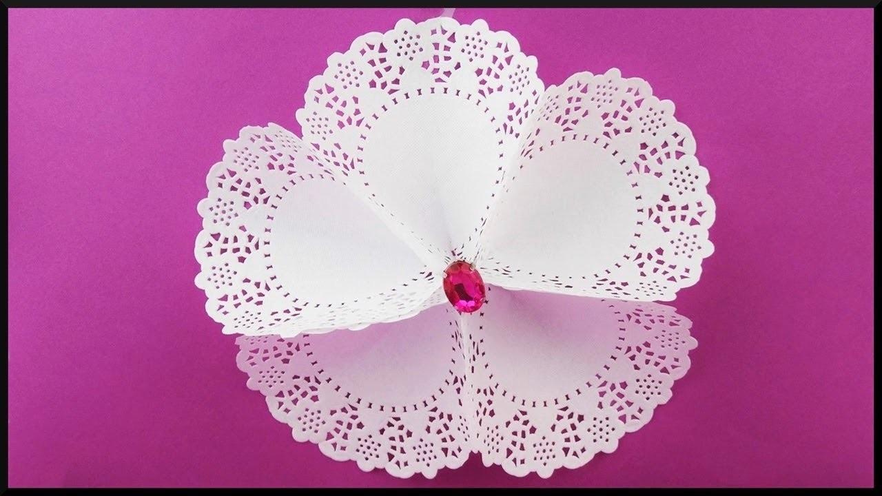 Wanddeko Diy diy, papierblumen wanddeko, paper doily wall decoration flowers with