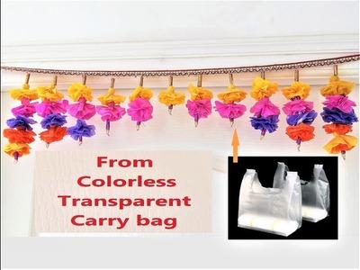 DIY Toran From colorless Polythene Carry Bag & Newspaper. Best out of Waste Bandhanwar