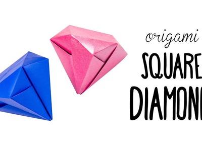 Easy Origami Square Diamond Tutorial ♥︎ No Glue ♥︎ Paper Kawaii