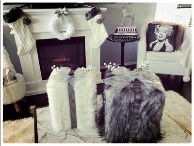 GLAM CHRISTMAS HOME DECOR  DIY CHRISTMAS FUR BOXES
