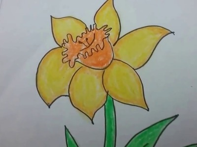 How to draw a daffodil flower,with basic shapes, East drawing  of beautiful daffodil for kids.