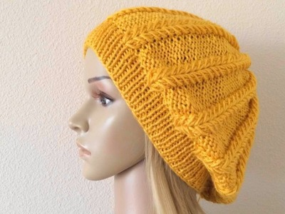 How To Knit A Spikelet Slouchy Hat, Lilu's Handmade Corner Video # 193