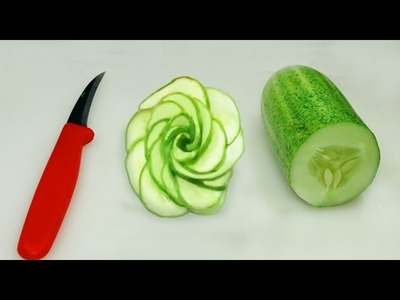 How To Make A Cucumber Rose. How to Make Cucumber Rose Garnish??]]