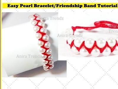 How to make bracelets|Friendship bracelets|Friendship band|Pearl Bracelets|Crossed bracelet