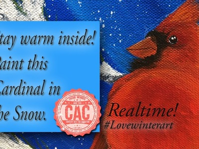 How to Paint a Cardinal Realtime Tutorial #Lovewinterart 2016