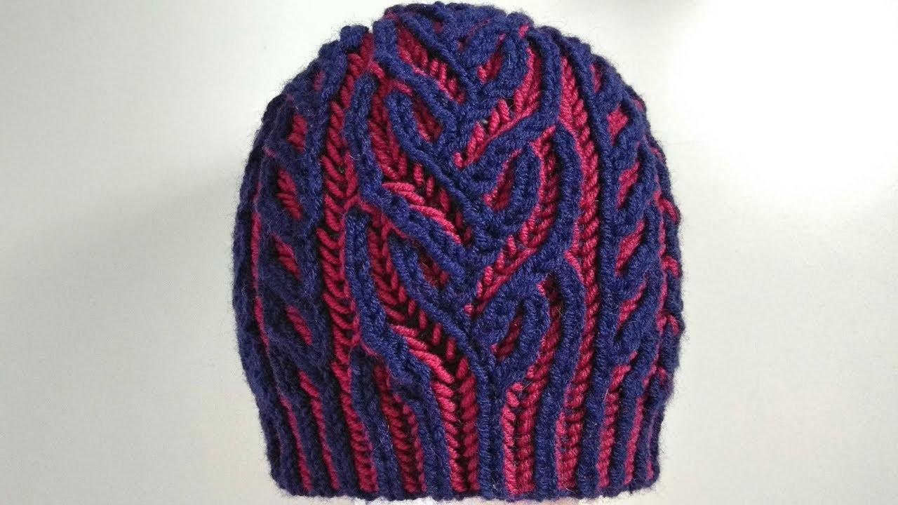 Interweave hat, two-color brioche stitch knitting pattern ...