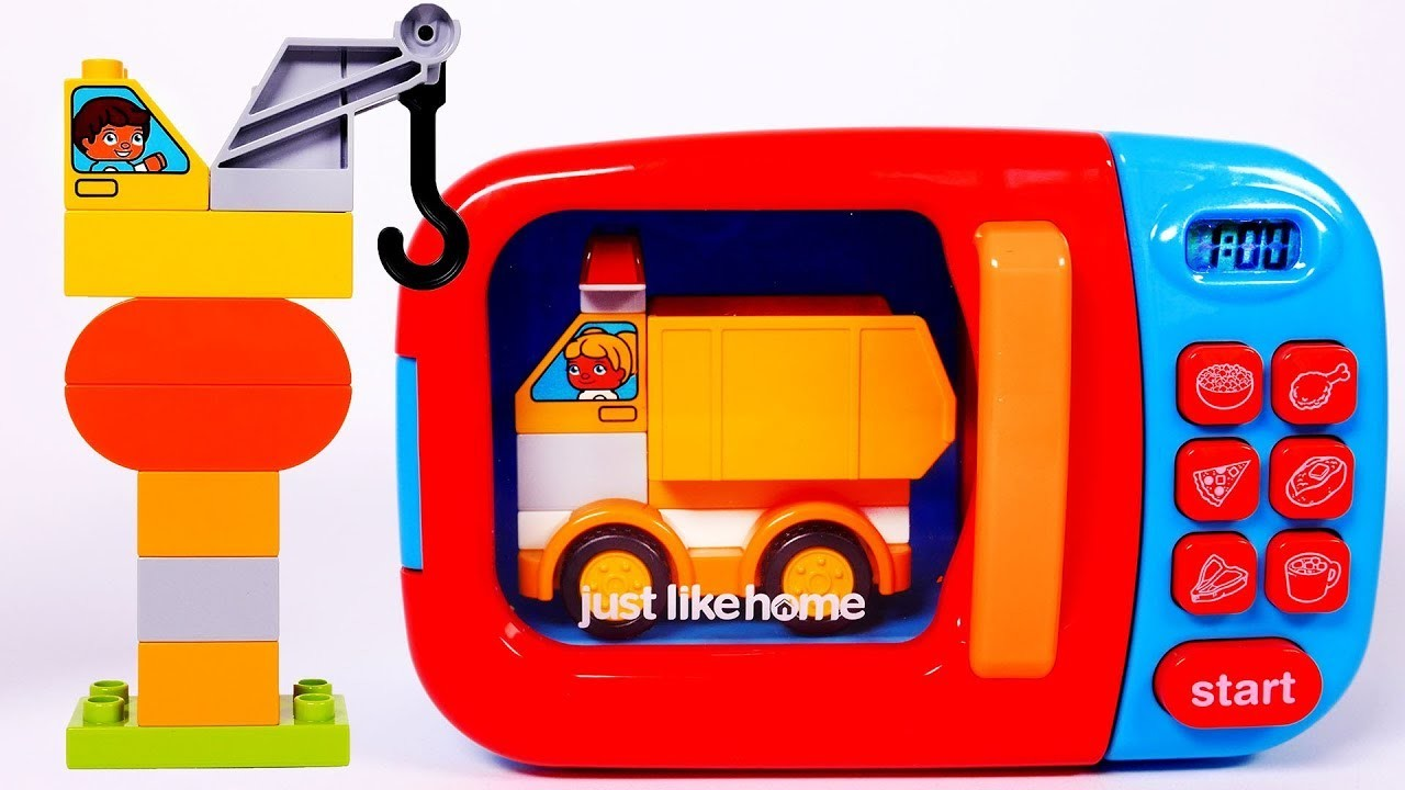 Learn Colors with Microwave and Toy Car Vehicles Building Blocks for Children