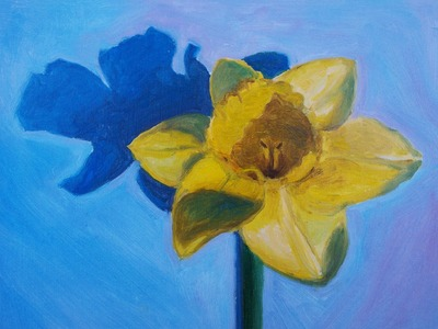 Oil Painting of a Daffodil in Alla Prima Technique in Twenty Minutes Speed Painting in Oil