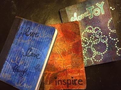 Use Those Gel Prints- Mini Composition Books- Gift Idea