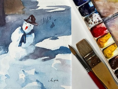 Watercolor Painting of a Snowman