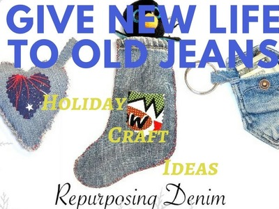 2017 DIY Fabric Ornaments | Holiday Craft Ideas | Recycled Blue Jeans