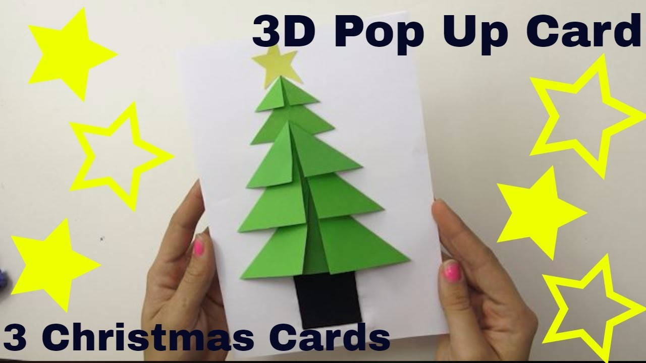 3D Handmade Christmas Cards | 3 Super Easy Pop Up Card | Paper Craft For Christmas December 2018