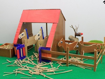 DIY Horse Stable Toy #3 & Popsicle Stick Horse Stall   Easy Craft Ideas