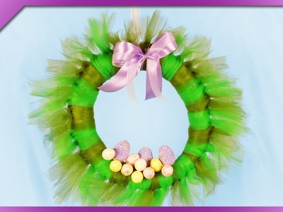 DIY How to make Easter wreath out of newspaper and tulle (ENG Subtitles) - Speed up #468