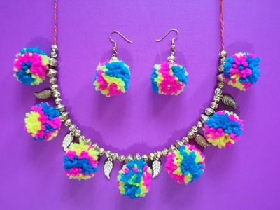 DIY || Make Pompom Necklace & Earrings (jewellery set) Step by Step at Home || by World of Artifact