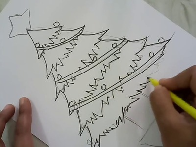 Draw And Colour Christmas Tree Step By Step | Christmas Craft | CraftLas