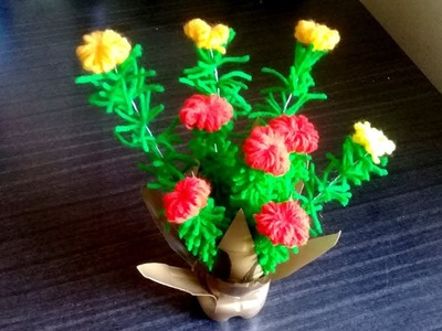 Easy Woolen Craft Flower vase Making with Plastic Bottle