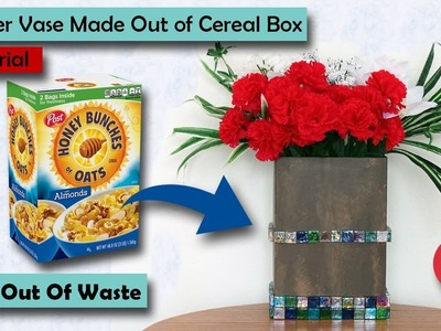 Empty Cereal Box Flower Vase| Diy Empty Cereal Box Craft| Best out of waste craft