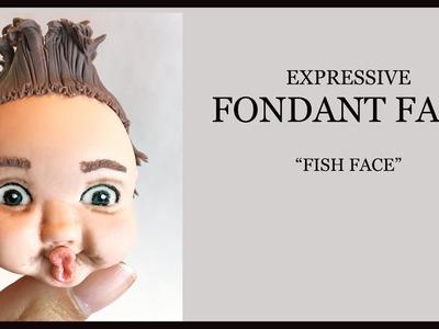 Expressive Fondant Face Tutorial. Sugar Craft Face Modelling: Boy Fish Face, Spiky Hair