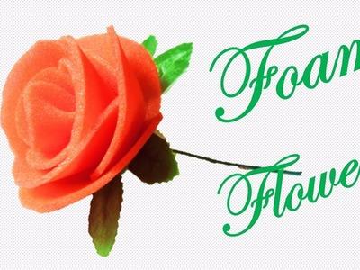 HM Rose flower with foam || How to make foam flower || Foam Rose flower