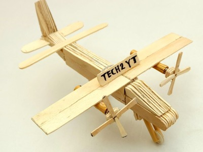 How to Make airplane at home #1 - Use Popsicle Stick or DC Moter