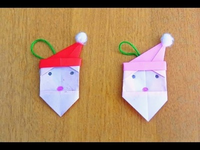 How to make DIY Santa's Face (Origami) very easily ~ Kids Craft ~ X'mas Tree Ornament ~ Tutorial .