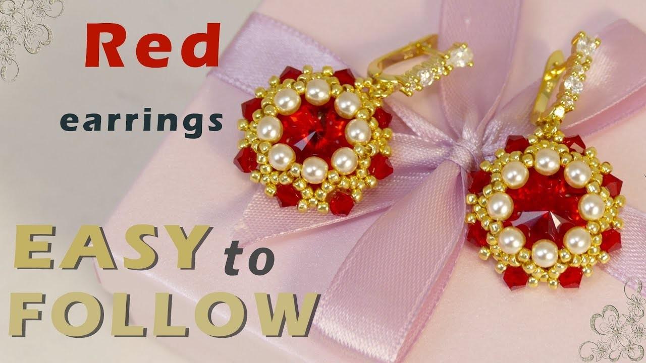 How to make earrings using 16 mm rivolis