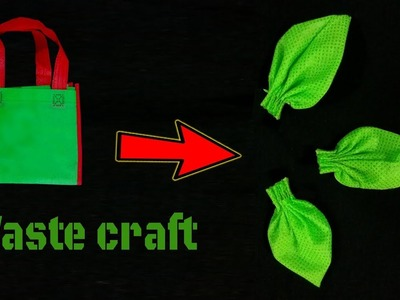 How to make leaves with waste bag   waste craft flower leaves by color bag   Handmade leaves