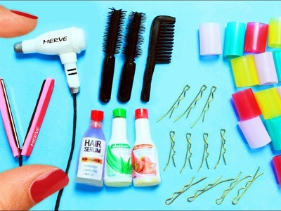 How to Make Miniature Hair Salon Products - 10 Easy DIY Miniature Doll Crafts