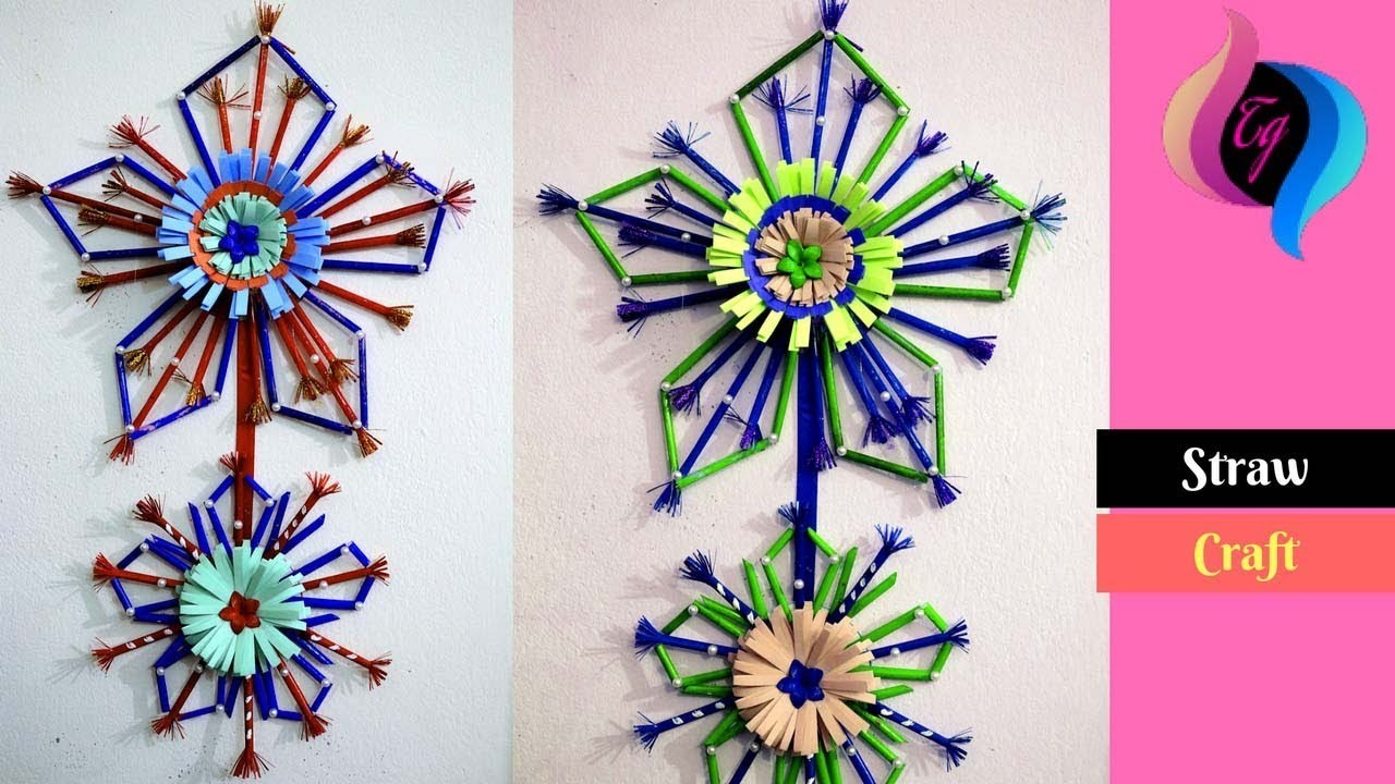 How To Make Paper And Drinking Straw Wall Hanging Craft From Straw