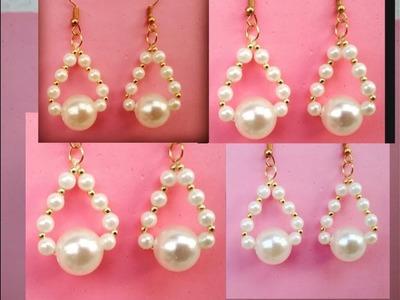 How to make pearl earrings easily at home, DIY earrings tutorial , hoop earrings, very easy DIY