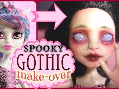 Monster High Rochelle Re-root and Repaint. Gothic doll faceup!
