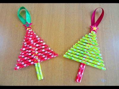 Paper Straw Christmas Tree Ornament ~ DIY X'mas Decoration ~ KIDS Craft ~ Easy Tutorial.