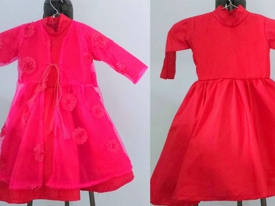 Party wear baby gown. frock cutting and stitching with jacket| designer baby dress
