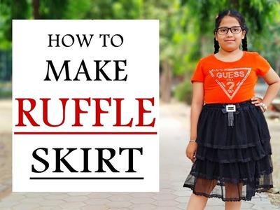 Ruffle skirt making ! how to make ruffle skirt, easy DIY