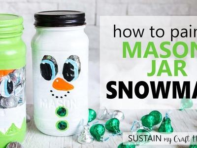 Secret Santa Gift Idea. Painted Mason Jar Snowman Craft. Christmas DIY & Decor Challenge