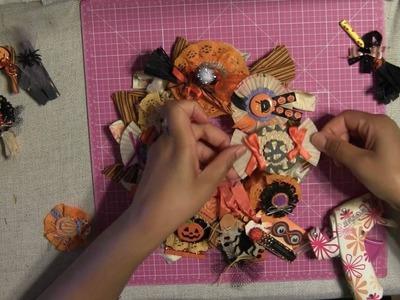 #24 Let's Make Mini Halloween Rag Wreath - Primitive Wall Decortation