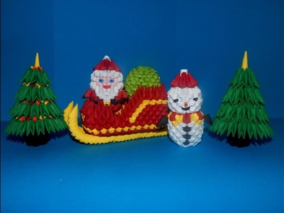 3D Origami small Santa Claus sleigh tutorial    DIY paper small Santa Claus sleigh