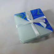 4 Coaster sets 2 designs in various colours fused glass blues, whites and greens