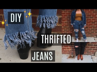 6 EASY Ways to DIY.Reconstruct Thrifted Jeans + TRY ON