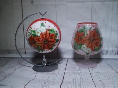 #63 DECOUPAGE CHRISTMAS ORNAMENTS AND CANDLESTICK. DECOUPAGE ON GLASS. TUTORIAL. HANDMADE