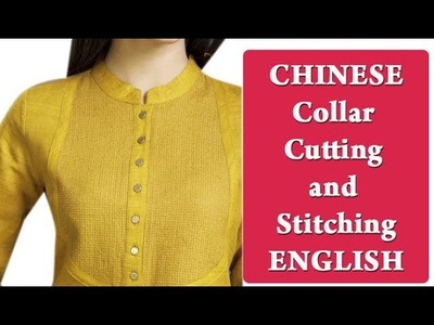 Chinese  kurti collar cutting and stitching simple easy method DIY English tutorial for beginners