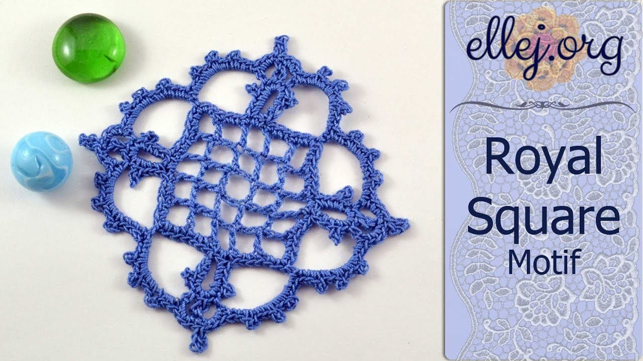 Crochet Lace Square Motif. Royal Square Motif • Free Step by Step Crochet Tutorial
