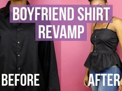 DIY Boyfriend Oversized Shirt into Cute Top