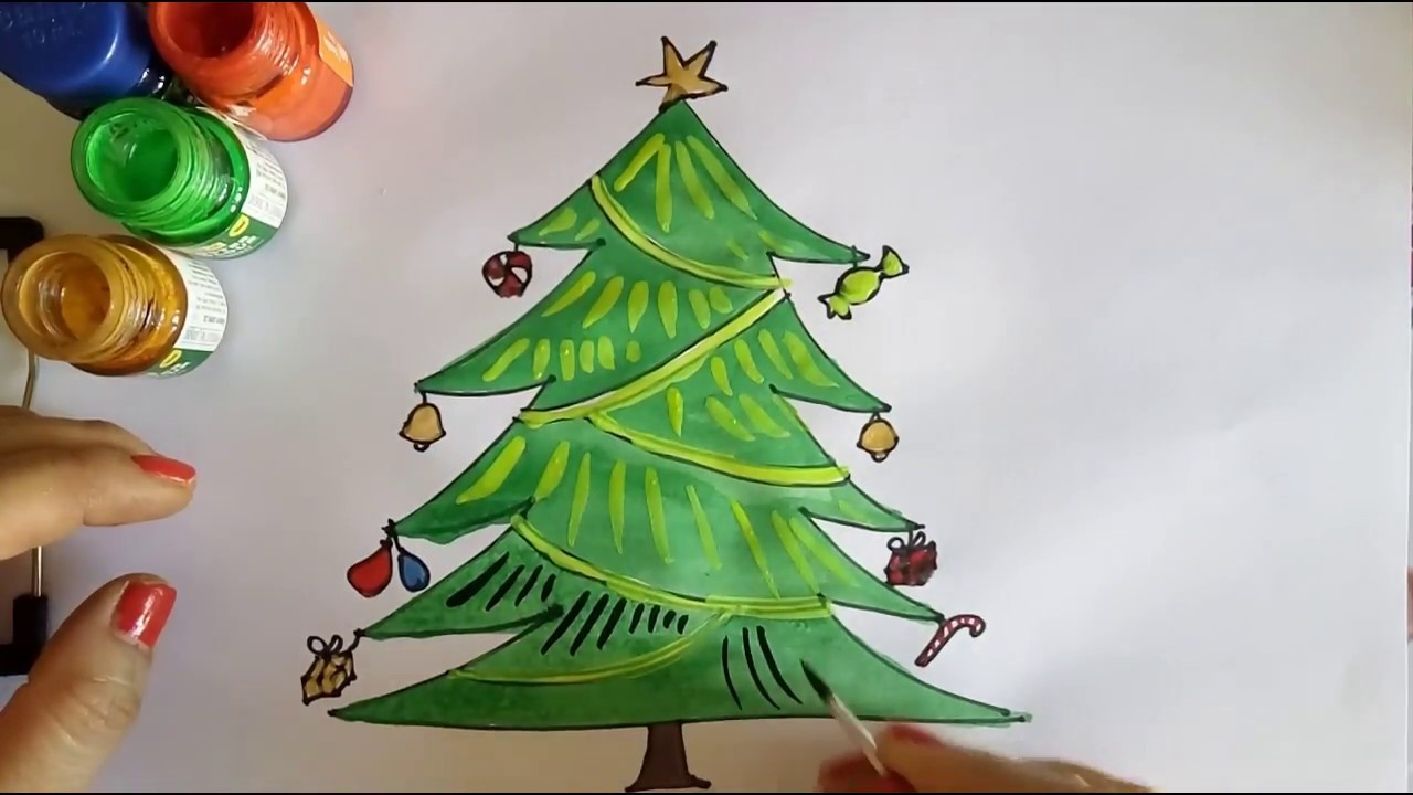 Diy Christmas Tree Drawing And Colouring Tutorial For Kids Holiday