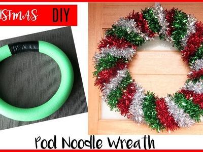 DIY CHRISTMAS WREATH | POOL NOODLE CHRISTMAS WREATH HACK | HOW TO MAKE A CHRISTMAS WREATH