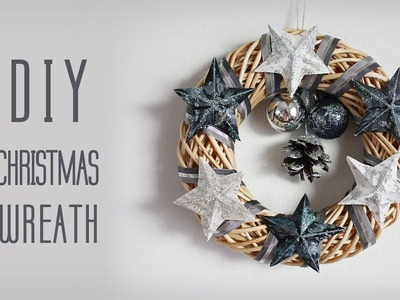 DIY Christmas Wreath with Glitter Stars