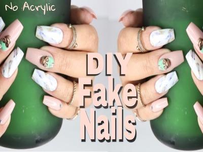 DIY Fake Nails | Realistic Marble Nail Art on Faux Acrylic Nails