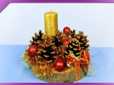 DIY How to make Christmas centerpiece out of pine cones, wood slice (ENG Subtitles) - Speed up #424