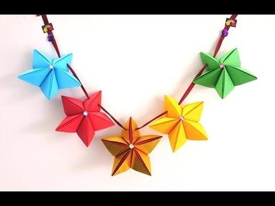 DIY Paper Stars Garland For Christmas ~ X'mas Room Decor. Wall Decor ~ Tutorial .